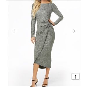 Forever 21 Silver and Black Long Sleeved Dress